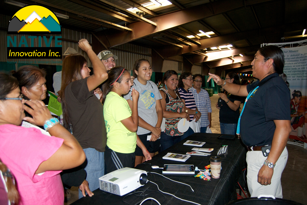 Kialo Winters presents the Diné Bizaad app for iPhone®, iPad® & iPod touch® at the 68th Annual Navajo Nation Fair.